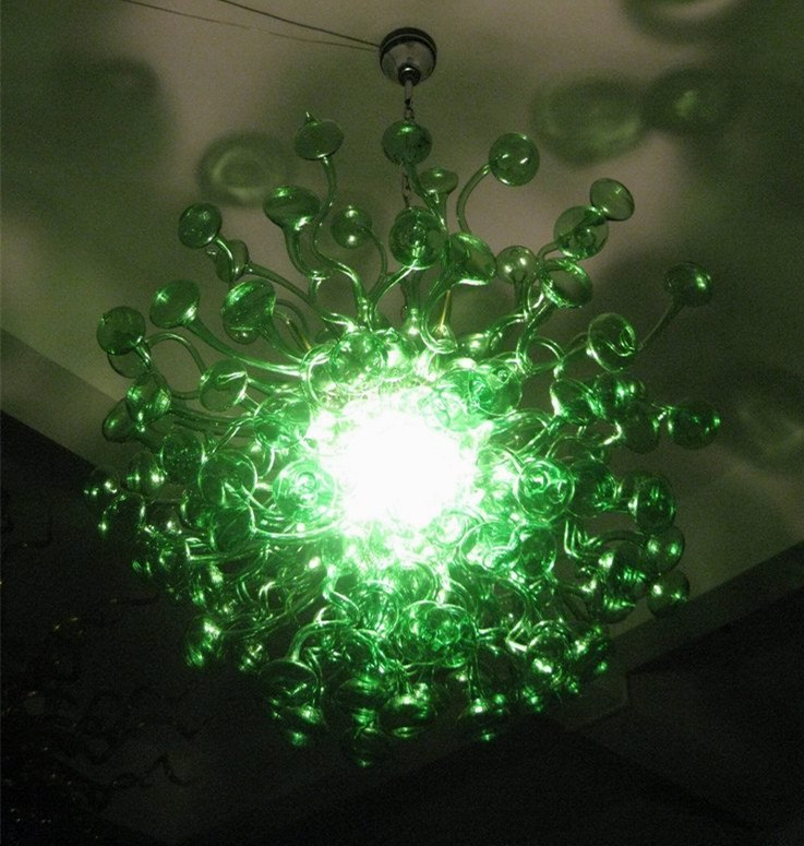 Modern green glass balls chandeliers light unique design energy modern green glass balls chandeliers light unique design energy saving light source murano chihuly art glass chandelier in chandeliers from lights aloadofball Choice Image