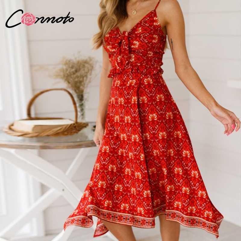 Conmoto Длинное красное платье с принтом, летнее двусоставное платье с разрезом, повседневное платье в стиле бохо из эластичного материала, пляжное платье с v-образным вырезом, 2019