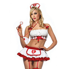 2018 Women Sexy Nurse Costume Erotic Lingerie Role Play Sexy Nurse Uniform Set Porn Erotic Sexy Lingerie G-string Skirt 25
