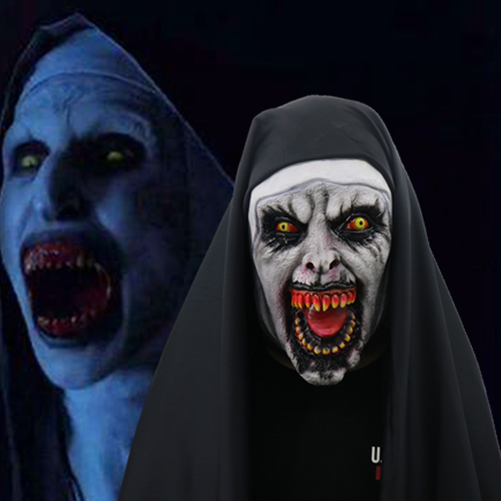 The Nun Horror Mask Cosplay Valak Scary Latex Masks With Headscarf Full Face Helmet Men Women Halloween Party Props 2018