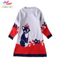 Belababy Filles Robes Printemps de Bande Dessinée Fox Motif Casual Robe Enfants Enfants Chemises À Manches Longues Robe Pull robes nina