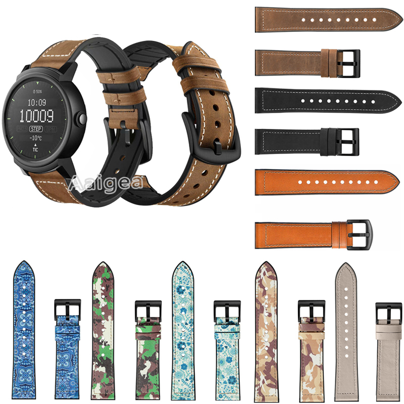 20mm Fashion Genuine Leather Silicone <font><b>Watch</b></font> Band Strap for Ticwatch E 2 Replacement Wrist strap band New Leather <font><b>Bracelet</b></font> <font><b>Unisex</b></font> image