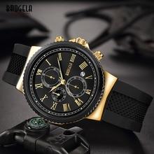 BAOGELA Мужские часы с силиконовым ремешком, хронограф, Модные Аналоговые кварцевые наручные часы для мужчин, черные золотые римские цифры 1708G-3