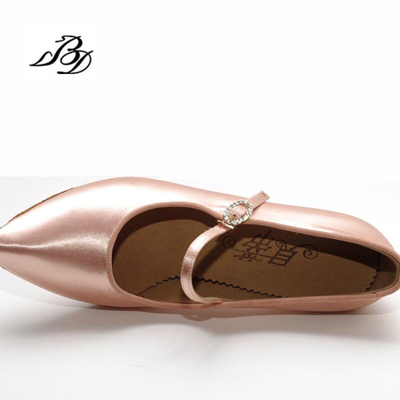 Adulte Sneakers Chaussures De Danse Moderne Marque Carré BD137 Partie Salle De Bal Latine Chaussures Femmes Satin Diamants Doux base de Peau de Vache CHAUDE - 5