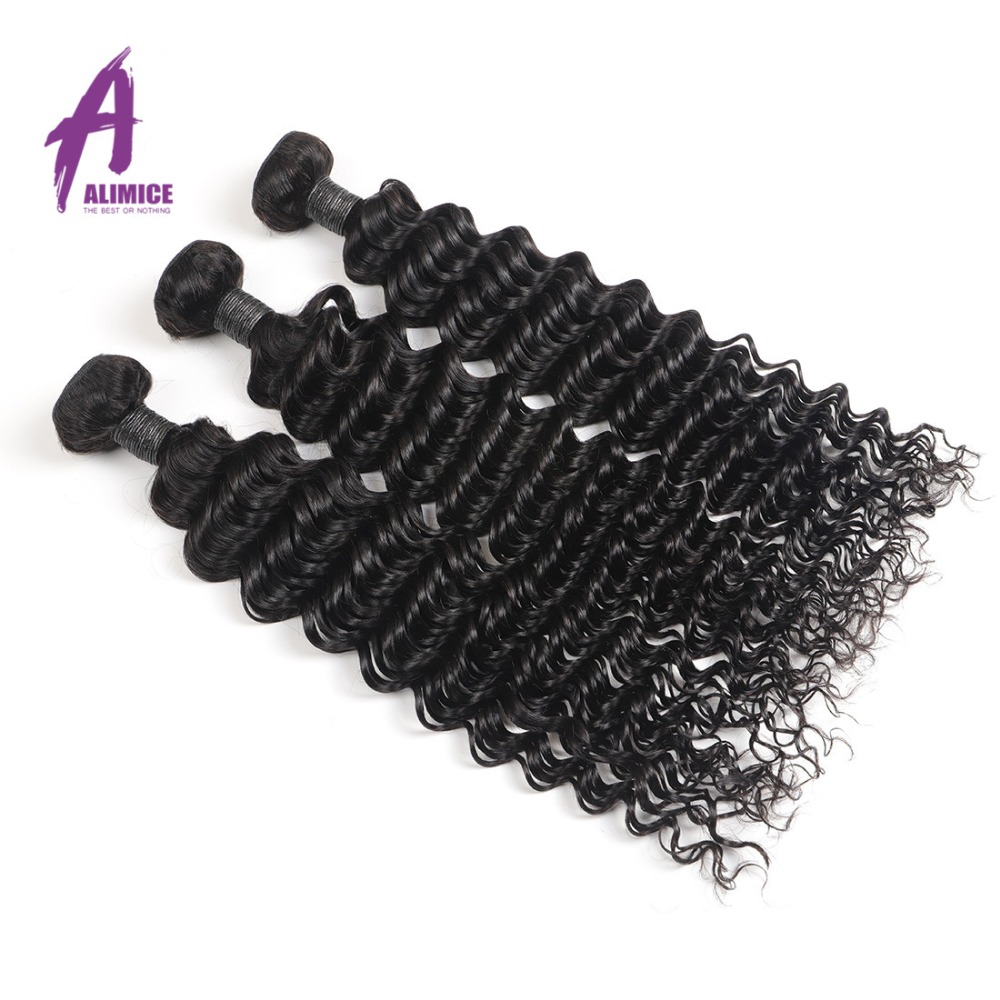 Alimice Indian Deep Wave Bundles Indian Hair Weave Bundles 100 Human Hair Bundles 8 30 Inch