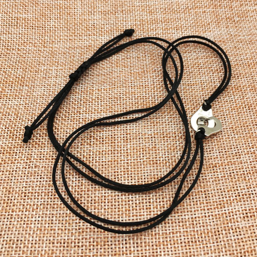 Fashion Jewelry 925 Silver Handcuff Les Menottes Pendant Necklace With Adjustable Rope For Men Women France Bijoux Collier Gift