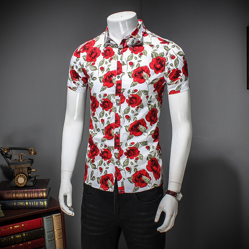 Quality Men Flower Shirt Summer Slim Fit New Men Casual Shirts ...