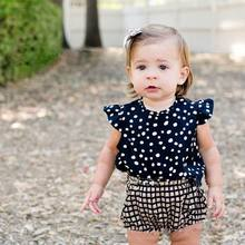 Ins 2016 Summer New Baby Girl Sets Polka Dot Shirts+Plaid PP Shorts 2pcs Fashion Outfit Baby Clothing 0-4T A888