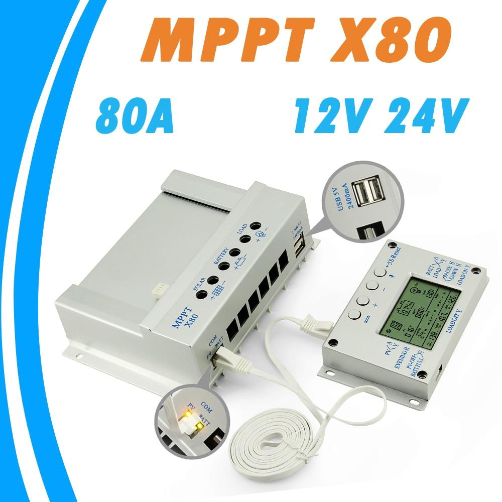 Y-<font><b>SOLAR</b></font> 80A <font><b>Solar</b></font> <font><b>Panel</b></font> Regulator 12V 24V Dual USD 2.4A 5V Output <font><b>Solar</b></font> Charge and Discharge Controller with 2m Remote Display