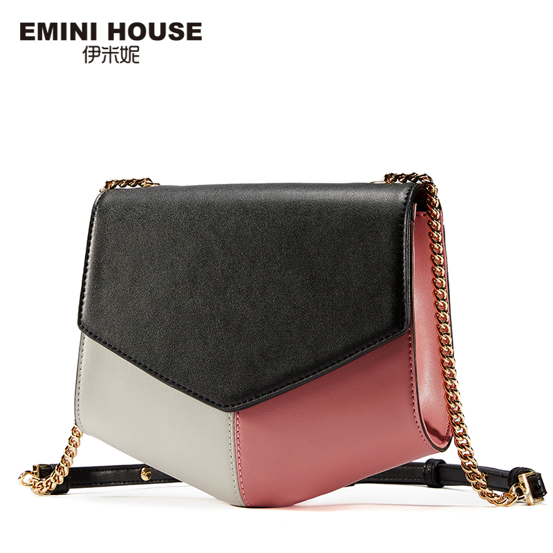 EMINI HOUSE Mixed Color Geometric Shape Flap Bag Split Leather Women Messenger Bags Crossbody Bags For Women Shoulder Bag emini house indian style bag women messenger bags split leather crossbody bags for women shoulder bag chic chain original design