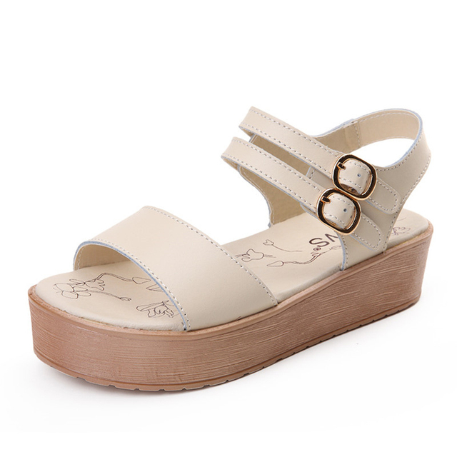 Best Selling Popular Girls Sandals Solid White Black Blue Buckle Strap  Closure Basic Type Fashion Style