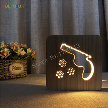 Creative Gun Model LED Night Lamp Wood Carving 3D Lights Nordic Style Lighting