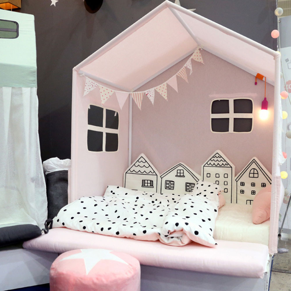 Baby Crib Bumper For Newborns Nordic INS Small House Bed Cushion Protector Infant Cot Around Pillows BabyRoom Decor For Girl Boy