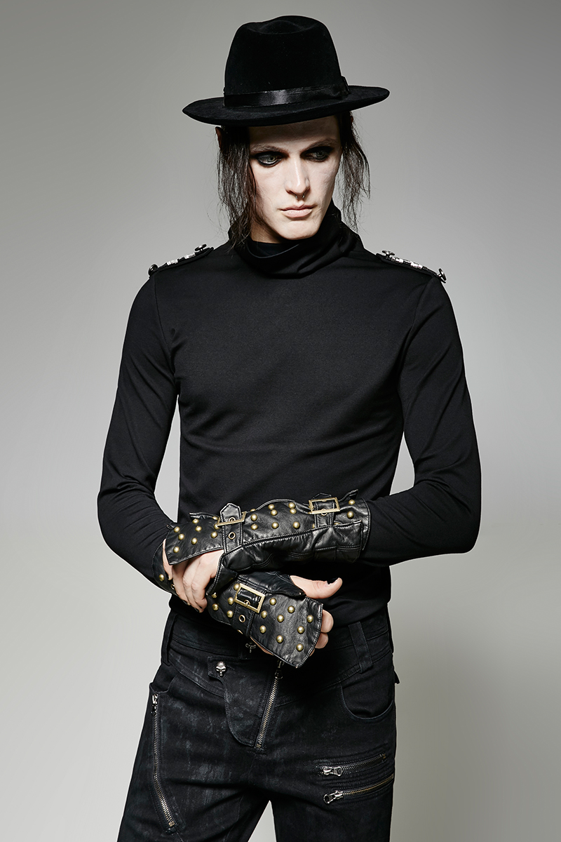 Unique Men's Arm Warmers Male Cuffs Rivet Metal Buckle Decoration PU Leather Gloves Fashion Party Dressing
