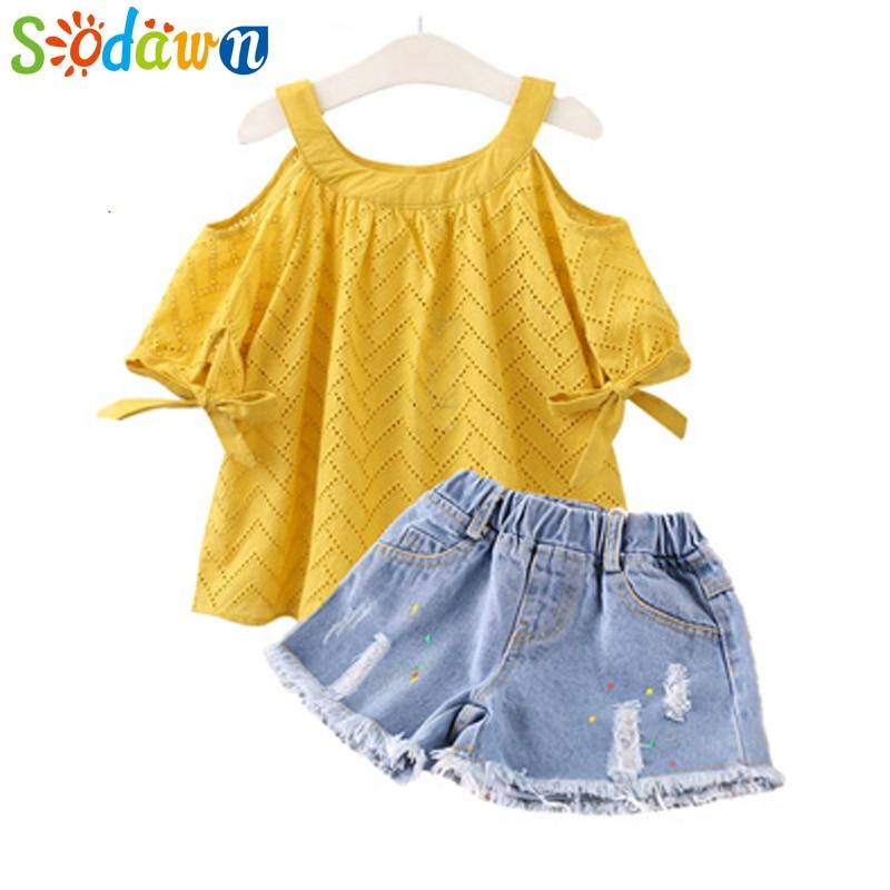 Sodawn Baby Girls Clohthes Summer Fashion Girls Clohting Set Hollow Shoulder T-shirt + Shorts 2PCS Kids Clothing 2-6Y