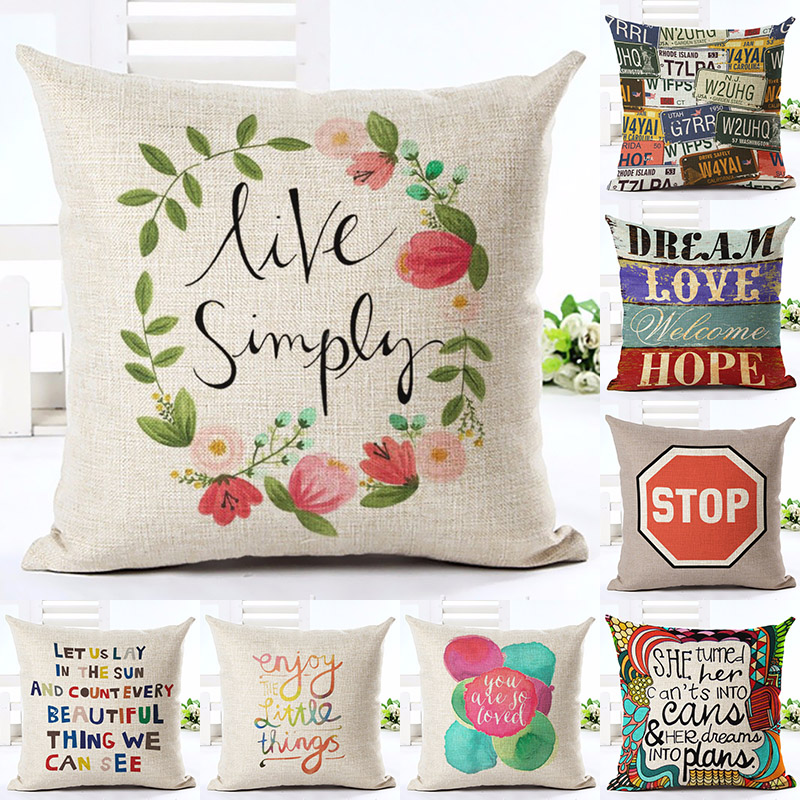 Colorized Letter Printed Cotton Linen Pillowcase Decorative Pillows Cushion Use For Home Sofa Car Office Almofadas Cojines