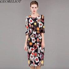 Runway Designer Print Vintage Bodycon Dress 2017 New Brand Fashion Half Sleeve O-Neck Evening Party Dresses Vestidos De Festa