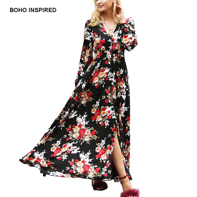 1bf7135ae57f8 Aliexpress.com : Buy BOHO INSPIRED black floral print long maxi dress  sleeve v neck drawstring buttons front Spring 2018 dress women vestidos  brand ...