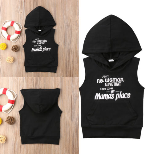 Toddler Baby Boys Girls Letter Sleeveless Hoodie Tops T-shirt Sweatshirt Clothes