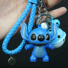 New Style Lilo And Stitch Action Figure Cartoon Anime LED Stitch Keychain Flash Sound Key Ring Novelty Toys Kids Birthday Gifts(China)