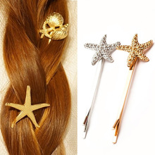 Bridal Wedding Hair Jewelry Accessories Pearls Vintage Gold Color Summer Sea Beach Jewelry Women Shell and Stars Hairpins