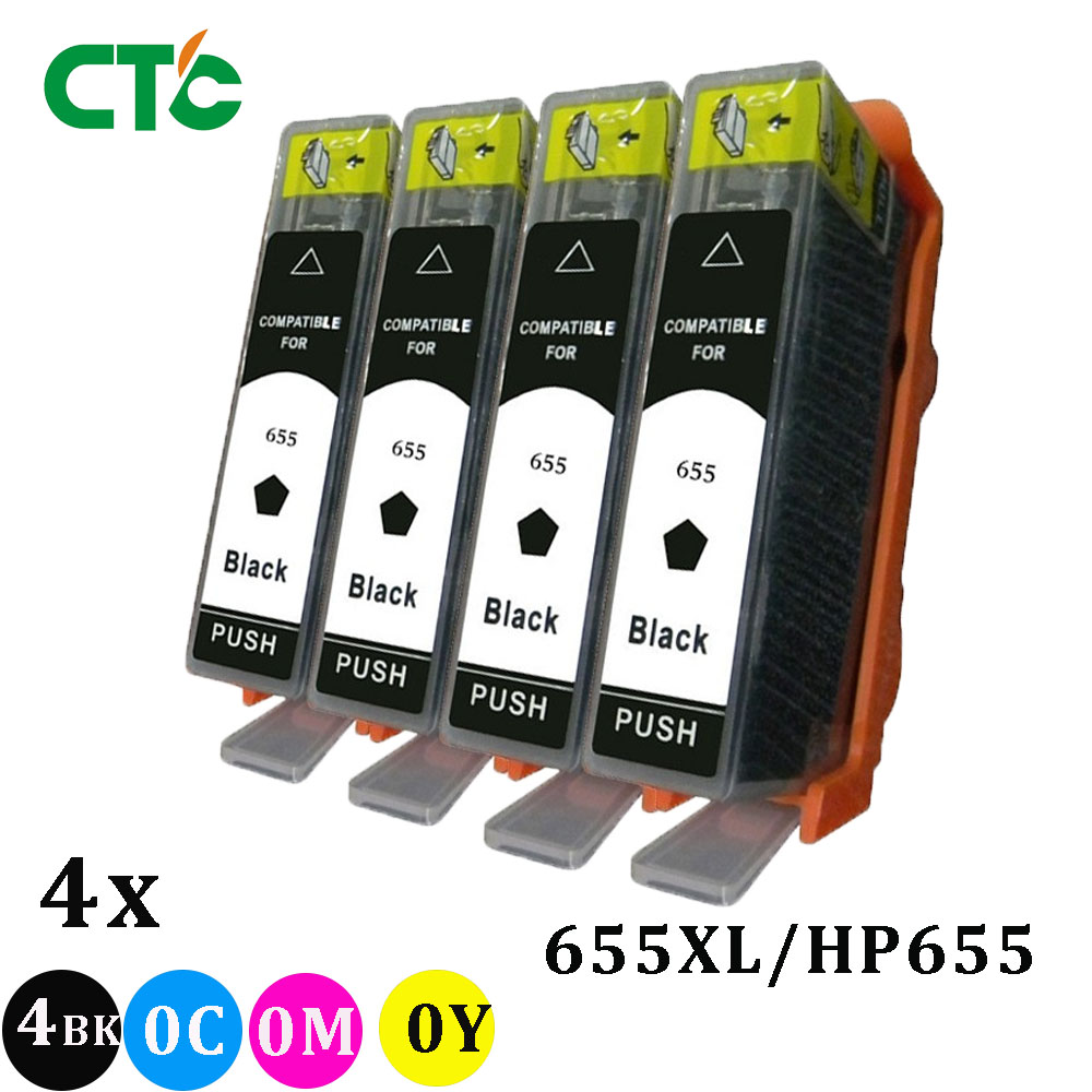 4 Black 655 XL 655XL Ink Cartridge For Deskjet 3525 4615 4625 5525 6520 6525 6100 6600 6700 7110 Inkjet Printer image