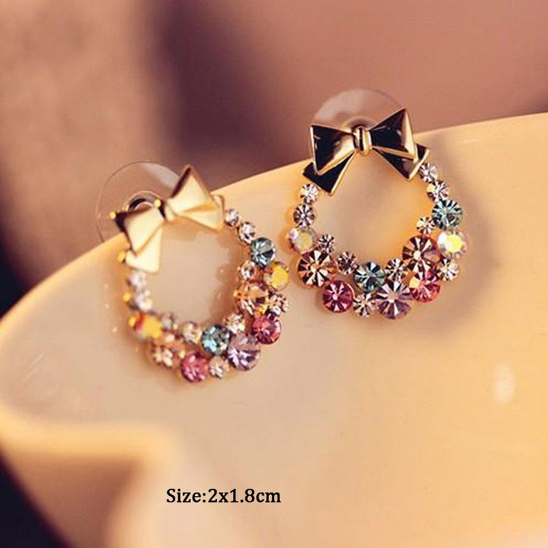 Fashion Elegant Bowknot Stud Earrings For Women Colourful Crystal Rainbow Ear Studs Trendy Style In From Jewelry