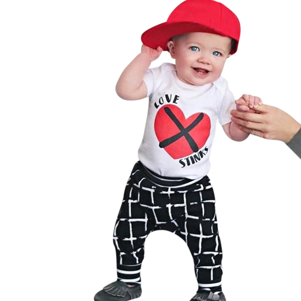 ARLONEET комплект одежды для маленьких мальчиков костюм джентльмена для мальчиков письмо сердце + штаны в клетку Костюмы Одежда для мальчиков 0 ...