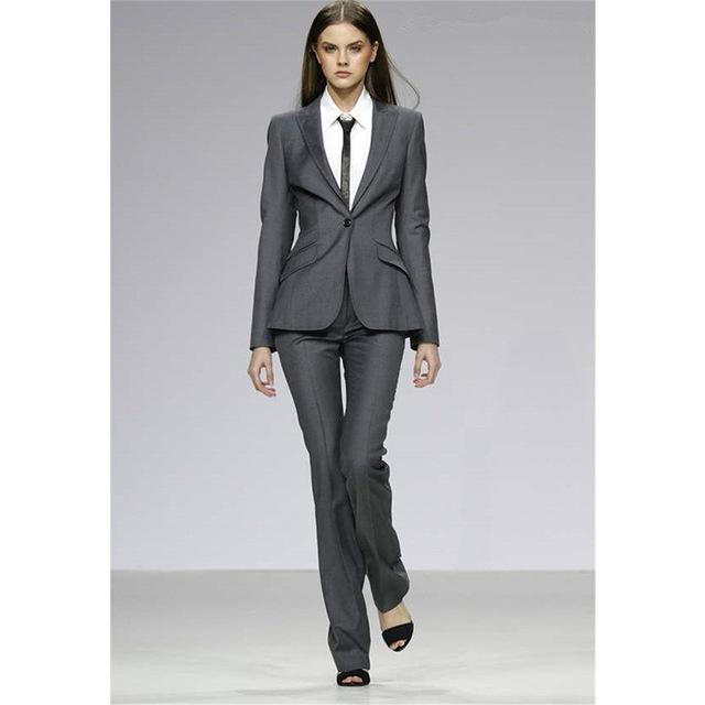 Custom Gray Womens Formal Uniform Uniform Slim 2 Piece Suits Business Women Work Wear Professional Pants Sets Office Suits