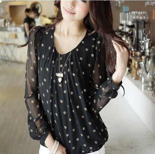 2016 Spring Women Plus Size Loose   Blouse     Shirt   Summer Casual Chiffon Polka Dot Long Sleeve O-neck Tops   Shirt   Blusas