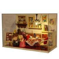 New DIY Doll House Dense Feeling Moment Wooden Miniature Furniture Building Handmake Diy Little Home Model with LED Light Doll