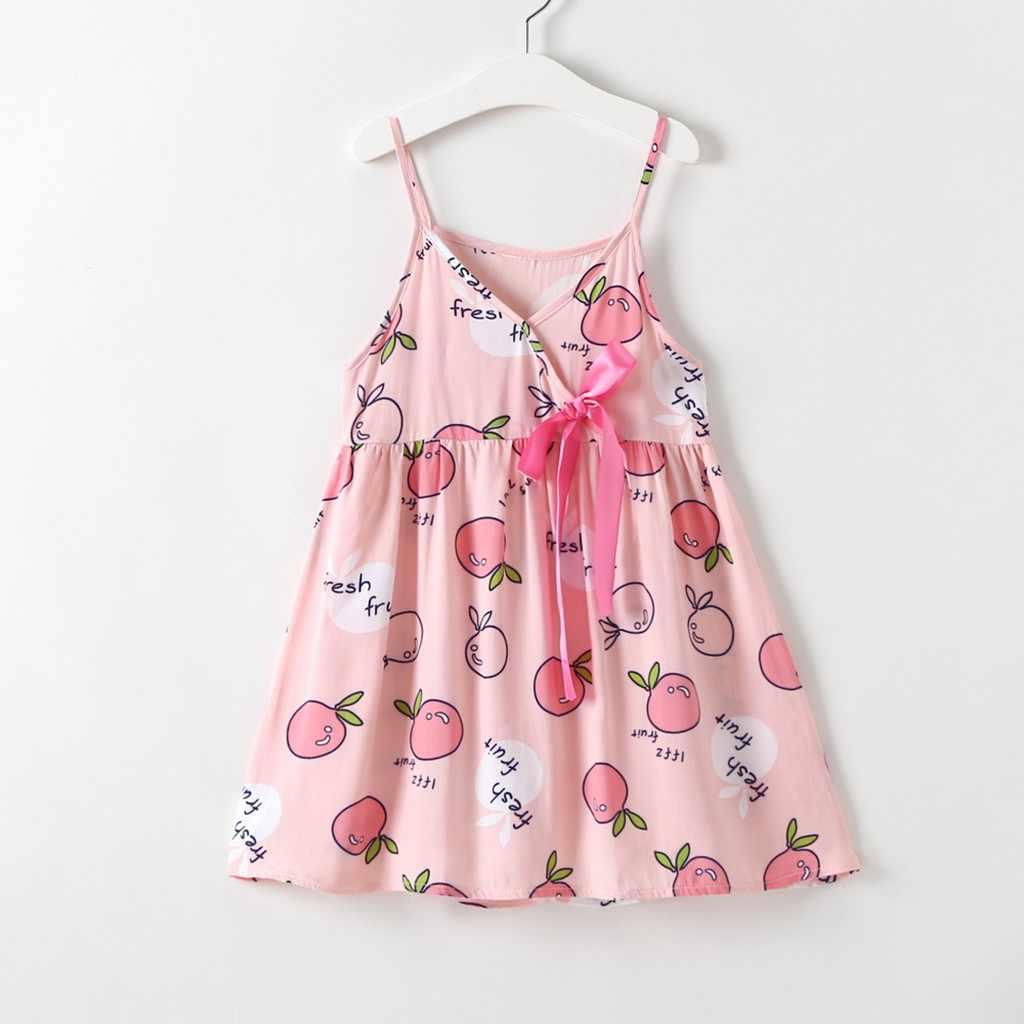 Платья для девочек, лето 2019, без рукавов, с бантом, для танцевальной вечеринки, с фруктами, платье принцессы, Детские платья для девочек, robe princesse enfant File
