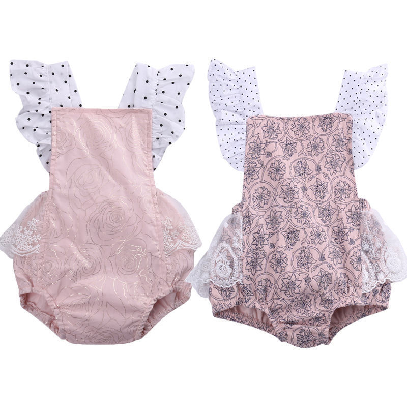HOT Romper Toddler Infant Baby Girl Lace Floral Flowers Ruffle Sleeve Romper Jumpsuit Outfits Backless Sunsuit Clothes pink baby girl rompers lace ruffle for toddler birthday outfits infantil bebe jumpsuit summer 2016 girls clothes infant clothing
