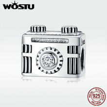 WOSTU Popular 100% 925 Sterling Silver Popular Vintage Camera Memory Box Charm fit Charm Bracelet Bangle DIY Jewelry DXC516(China)