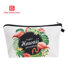 2018 New Fashion 3D Print Flamingo Cosmetic Bag Women Flowers Brand Travel Makeup Case Bags 5Styles Available