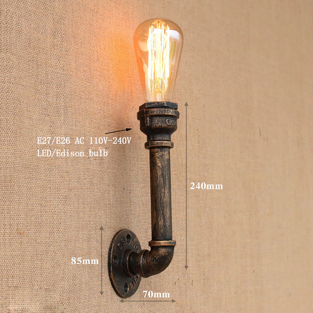 Купить с кэшбэком Steam punk Loft Industrial iron rust Water pipe retro wall lamps Vintage E27 LED sconce wall lights for living room bedroom bar
