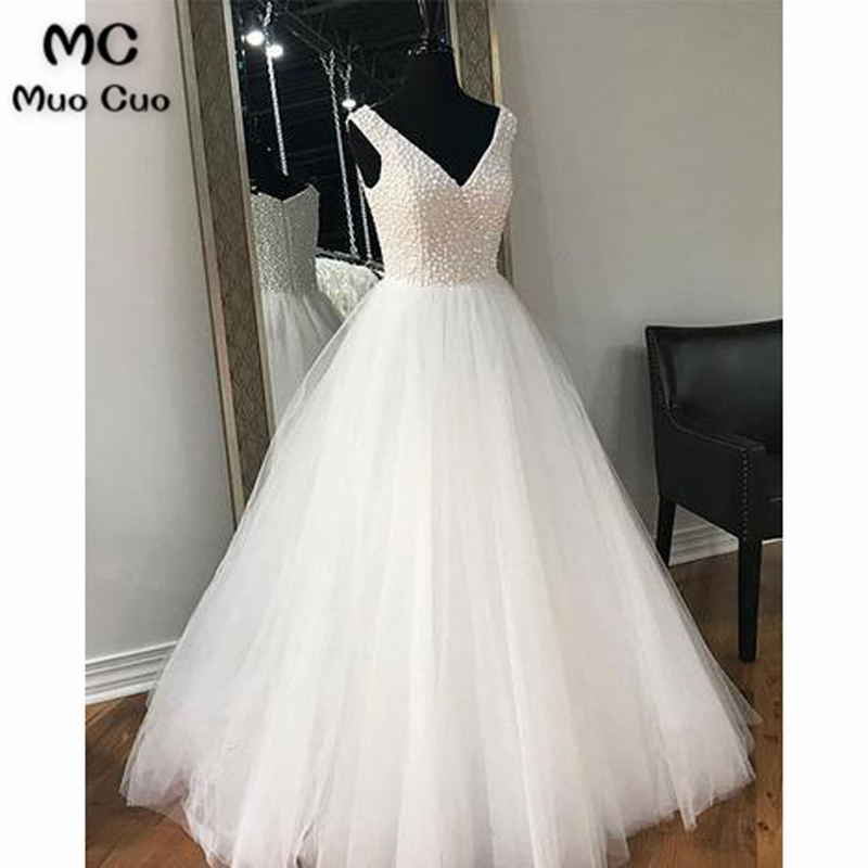 2018 Popular Long   Prom     Dresses   with Pearls V-Neck Tulle Tank White Zipper Back   dress   for graduation Formal Evening   Prom     Dress