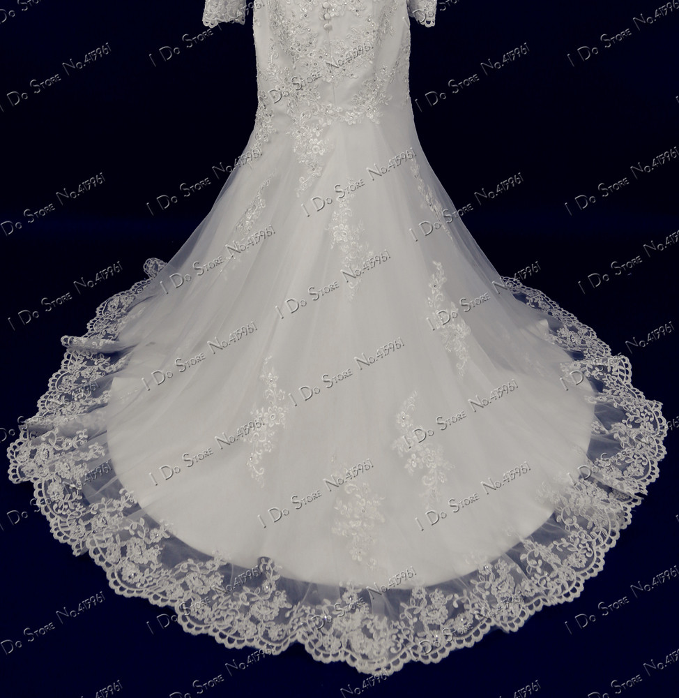 Vintage Lace Mermaid Wedding Gowns Long Sleeve Real Samples Ivory ...