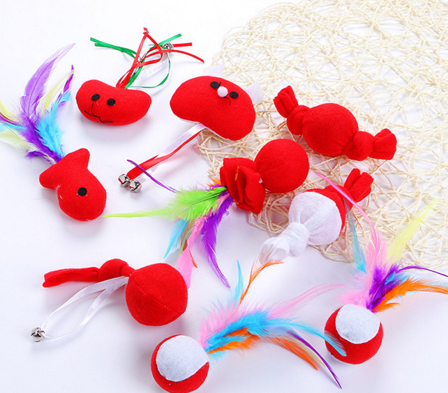 usd0.75/pc pet cat toy kitten toys fish ball feather playing toys for cat kitten Xmas toys gift for cat with catni 10pcs/lot