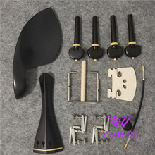 1 sets 4/4 violin ebony fittings parts accessories tail piece chinrest endpin 4 pegs double pairs eye fittings