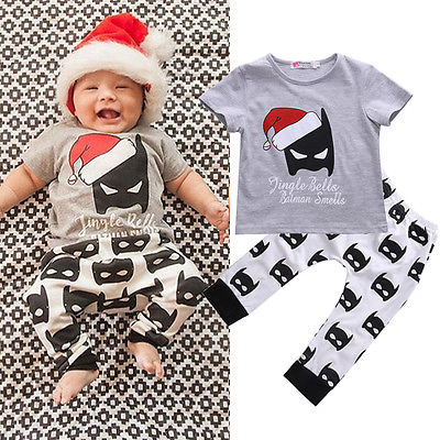 Baby Boy Outfits Baby Girl Cartoon T shirt Kids Batman Pants Trousers  Toddler 2pcs Christmas Set-in Clothing Sets from Mother   Kids on  Aliexpress.com ... 56da6179d0a8
