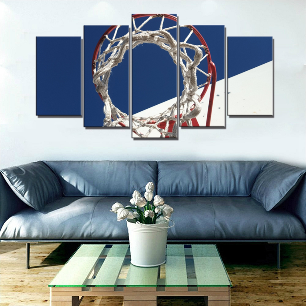 Basketball Hoop Under Blue Sky Landscape Sport Posters and Prints Wall Art Canvas Painting for Kids Bedroom Wall Decor Wholesale