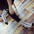 Calcetines de Otoño e invierno de los hombres con negro y blanco A Cuadros de pata de Gallo clásico calcetines de la raya calcetines de algodón Shutiao marca de lujo