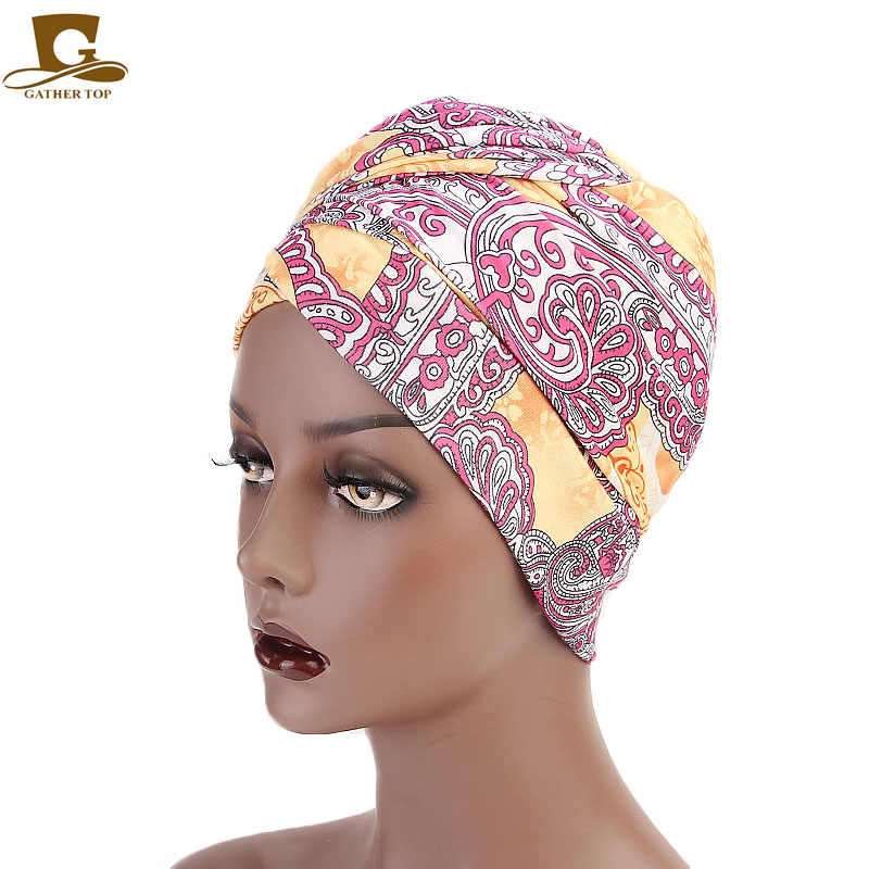 ... Women Multi-color Usage Turban African printing long Head Wrap  headscarf Geometric Design head scarf ... c3a6b2451ba5