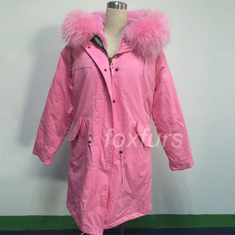 Zimní kabát dámská bunda růžová liška kožešina skutečný velký mýval kožešinový límec Parka silný růžový ležérní svrchní oděv kapuce 2017 NOVINKA