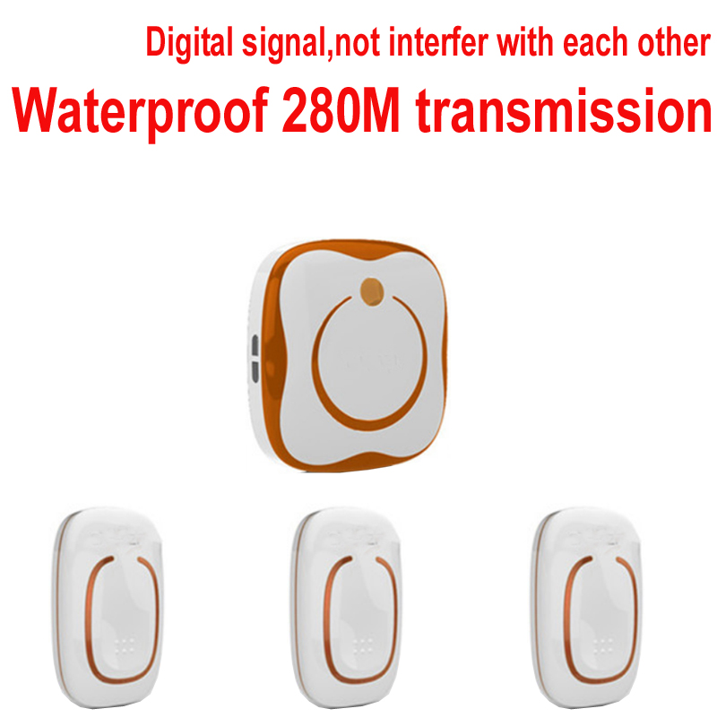 door chime with 3 emitters+1 receivers Waterproof 280M Long-range,wireless door chime,wireless bell,door bell,48 melodies bell