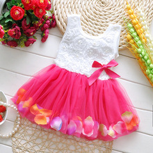 Kids 0-2 year Girl bowknot summer Dress petals pink princess Toddler Elegant clothes Pageant Infantil Tulle Formal Party Dress
