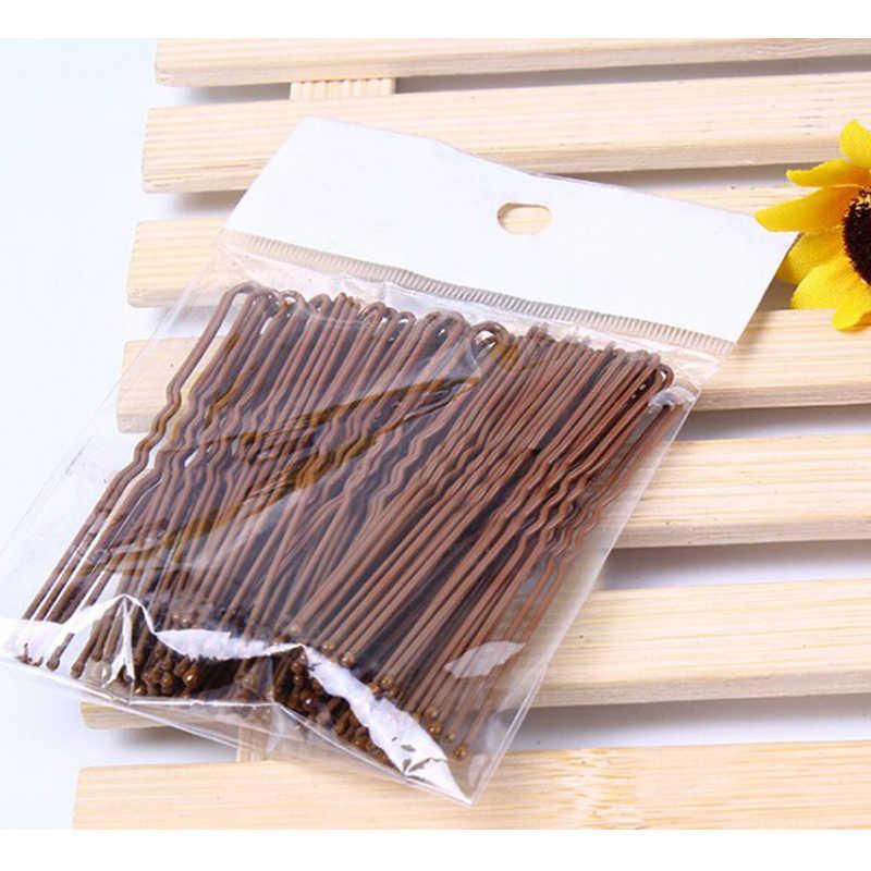 100 יח'\אריזה בובי נשים בנות סיכות שחור זהב U בצורת שיער קליפים סיכת 4.5 cm 6 cm מתכת מצופה חום אדווה סיכות