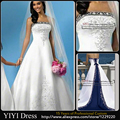 New Design Strapless Embriodery Satin White And Blue Wedding Dresses Bridal Gowns Custom Made Size 2 4 6 8 10 12 14 16 18+