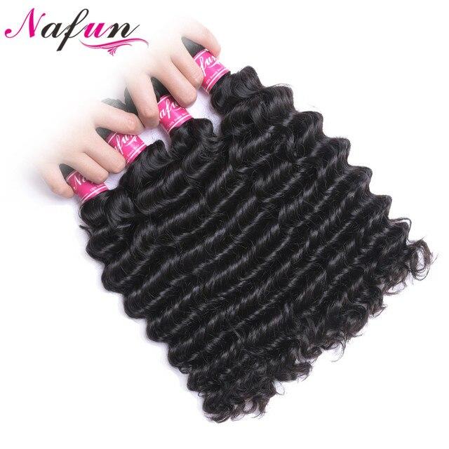 Paquetes de pelo humano de onda profunda NAFUN paquetes de pelo peruano de Color Natural extensiones de cabello no Remy envío gratis